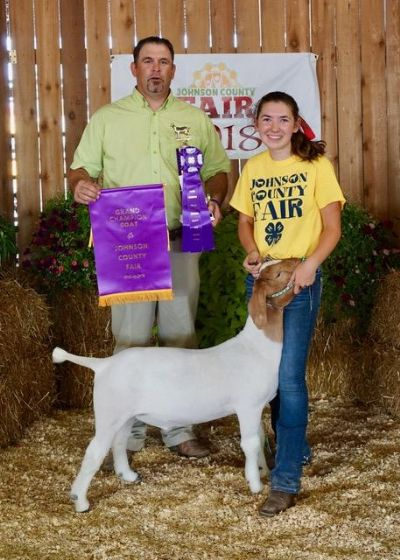 Congrats to Elizabeth Lang Overall Grand Champion Wether Johnson County KS  Sired by Argo out of 512