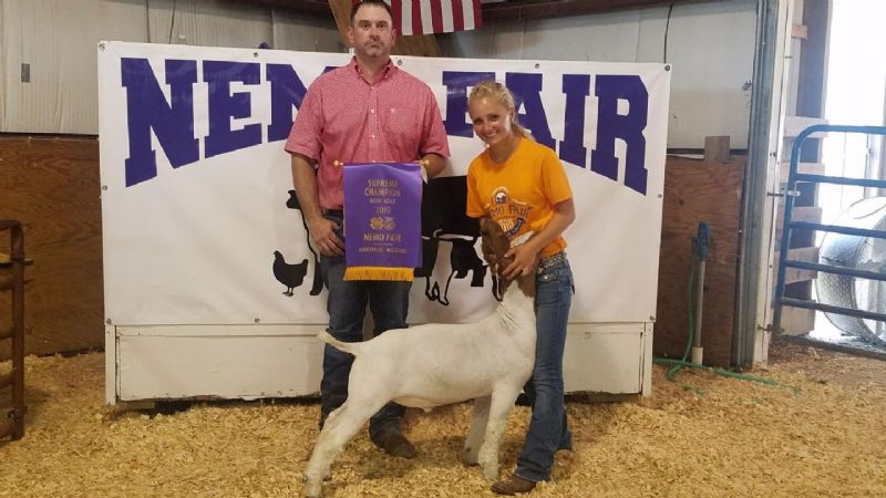 Congratulations to Libby Reinsch for winning Grand Champion Market Wether and Supreme Champion Boer